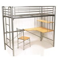 Harvard Bunk Bed with Desk and Chair in SIiver