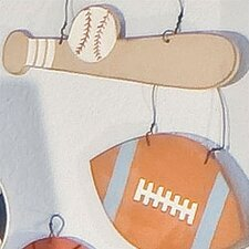 All Star Baseball Bat and Ball Hanging Art
