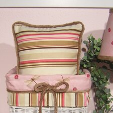 Pink Ladybugs and Dragonflies Stripe Pillow