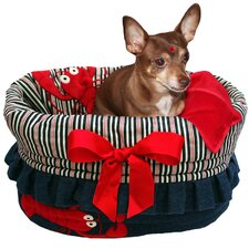 Snuggle Bug Reversible Denim Stripe Pet Carrier with Ruffle Trim