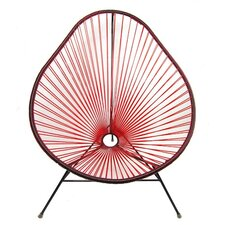 Authentic Acapulco Indoor / Outdoor Chair with Black Frame in Transparent Red