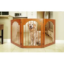 Universal Free-Standing All-Wood Pet Gate in Cherry