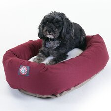 Bagel Dog Bed in Burgundy and Sherpa