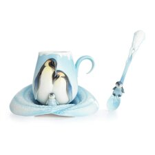 <strong>Franz Collection</strong> Playful Penguins Cup, Saucer and Spoon Set
