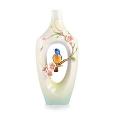The Golden Years Plum Blossom and Vivid Niltava Vase