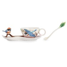 Black-Throated Passerine Bird Cup, Saucer and Spoon Set