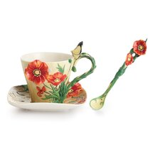 Van Gogh Poppy Flower Cup, Saucer and Spoon Set