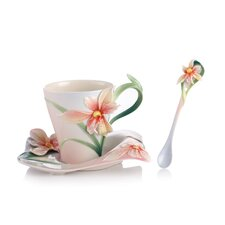 Four Seasons Orchid Blossom Cup, Saucer and Spoon Set