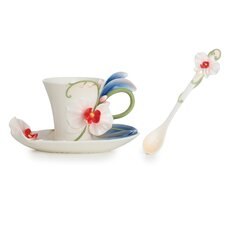 Graceful Orchid Flower Cup, Saucer and Spoon Set