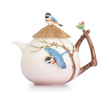 Black-Throated Passerine Bird Teapot