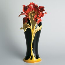 Striking Vermillion Peony Vase