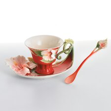 Island Beauty Hibiscus Flower Cup, Saucer and Spoon Set