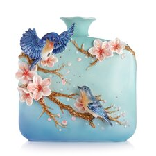 Jovial Bluebird and Cherry Blossom Vase