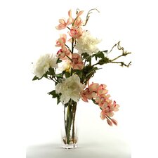 Cymbidium Orchids and Peonies in Glass Vase