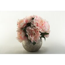 Peony Bouquet in Silver Ball Planter