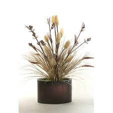 <strong>D & W Silks</strong> Lighted Loofah and Grass in Oval Planter