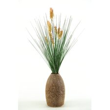 Onion Grass with Dogstail in Tall Ceramic Vase