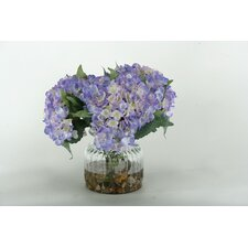 Hydrangeas in Ribbed Glass Vase
