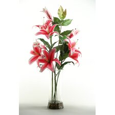 Casa Lilies in Glass Vase