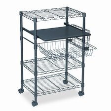 <strong>Mayline Group</strong> Multipurposeose Wire Cart, Three Shelves, 23-1/2 x 15 x 37-1/2, Black
