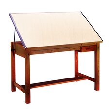 "Wood Four-Post B Combination Drawing Table - Golden Oak (37.5"" x 60"")"