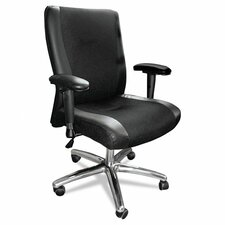 Mid-Back Leather and Mesh Task Chair with Arms