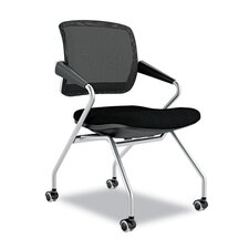 Mid-Back Mesh Nesting Chair with Arms (Set of 2)