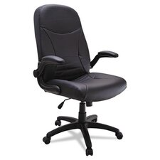 High-Back Leather Executive Pivot-Arm Task Chair