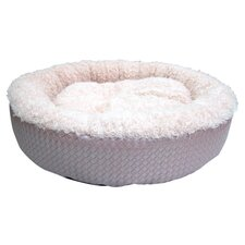 Faux Leather Round Dog Bed