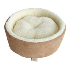 Round Nest Pet Bed in Light Brown Suede