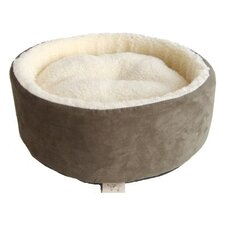 Round Nest Pet Bed in Olive Green Suede