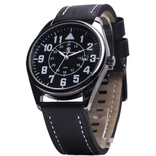 The Civilian Men's Round Face Leather Watch
