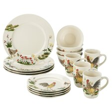 Signature Dinnerware Southern Rooster 16 Piece Dinnerware Set