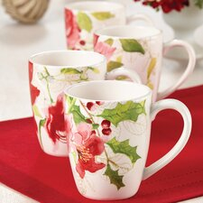 <strong>Paula Deen</strong> Signature Holiday Floral Mug (Set of 4)