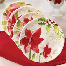"Signature Holiday Floral 6"" Dessert Plate (Set of 4)"