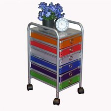 6 Drawer Multi-Colored Rolling Storage Tower