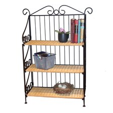3 Tier Bookcase in Wicker and Metal