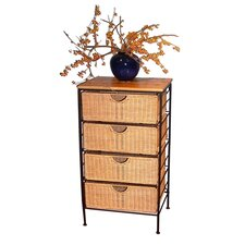 Wicker 4 Drawer Stand