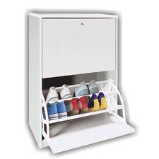 2 Drawer Shoe Cabinet in White