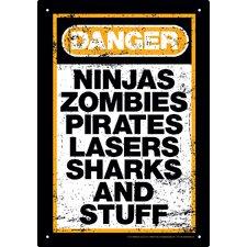 Zombie - Danger Stuff Tin Sign Textual Art