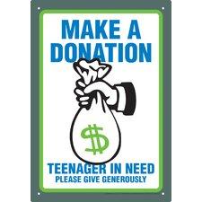 Make A Donation Tin Sign Vintage Advertisement