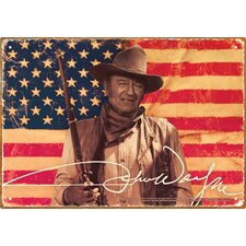 John Wayne Flag Tin Sign Graphic Art