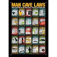 Man Cave Laws Tin Sign Vintage Advertisement