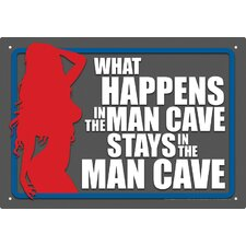Man Cave What Happens Tin Sign Graphic Art