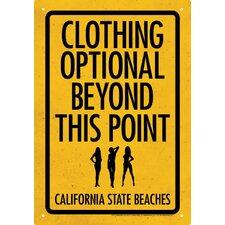 Clothing Optional Tin Sign Textual Art