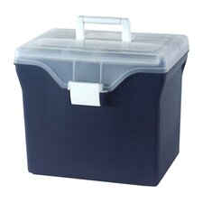 Portable File Box in Navy Blue with Clear Lid - 4 Piece Set