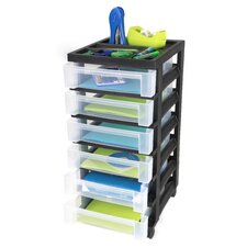 Medium Cart with 6 Clear Drawers with Organizer Top - Black