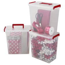 Holiday Ribbon and Bow Small Storage (Set of 3)