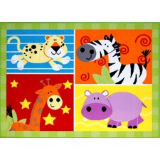 Kids Zoo Animals Rug in Multi