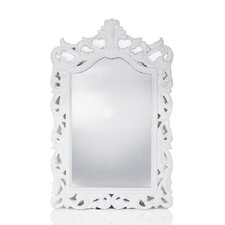 Ornamental Mirror in Crest - Gloss White